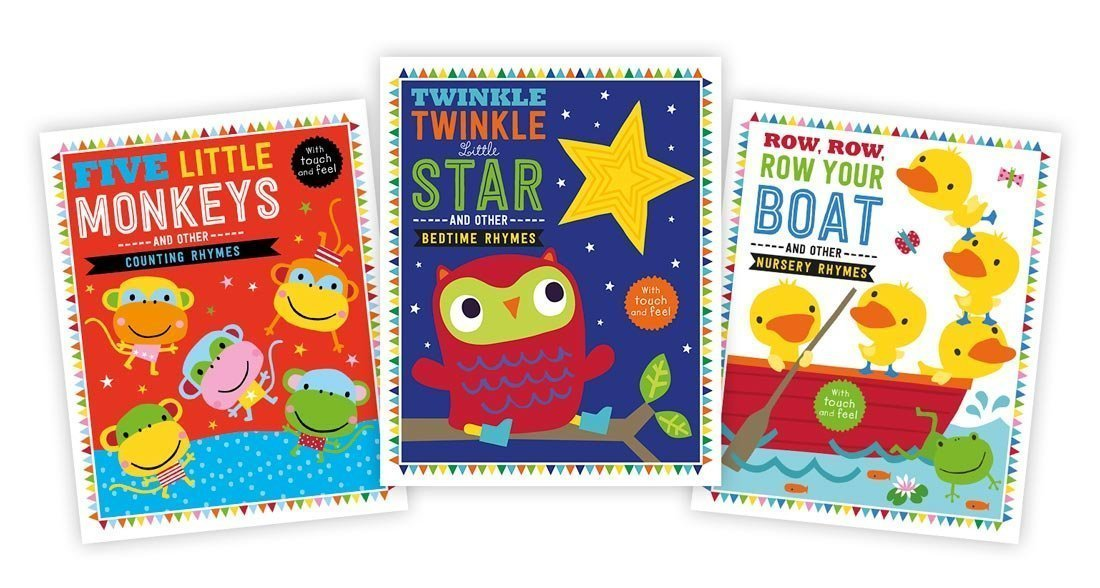 Five Little Monkeys / Twinkle Twinkle Little Star / Row Row Row Your Boat - Padded Touch and Feel Books